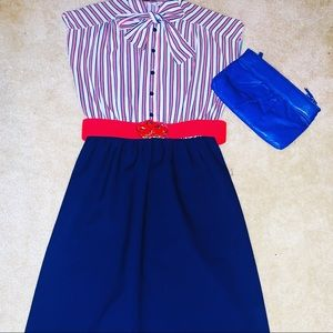 Red, White, &  Blue 70s Vintage Dress